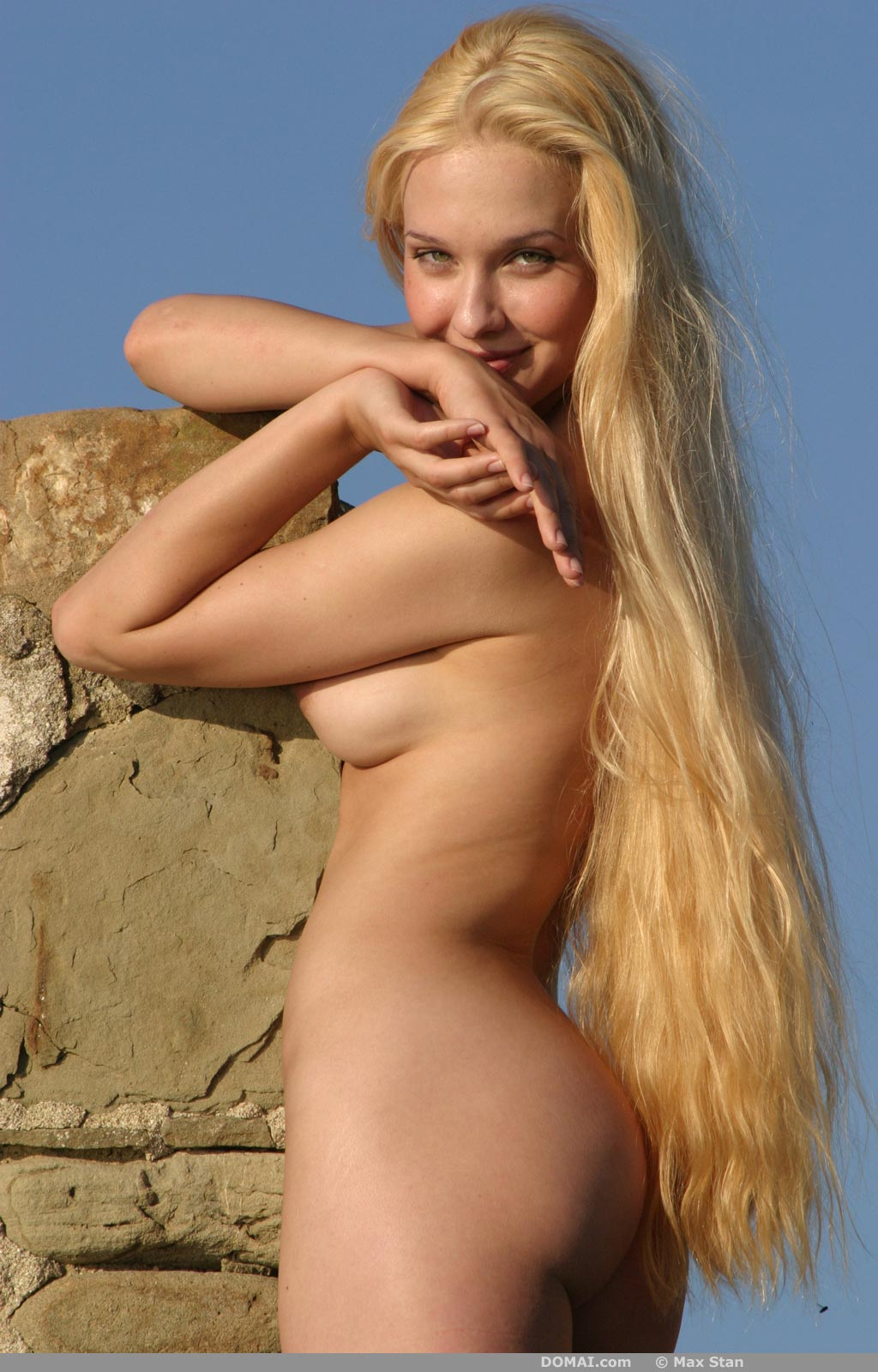 naked woman with long hair