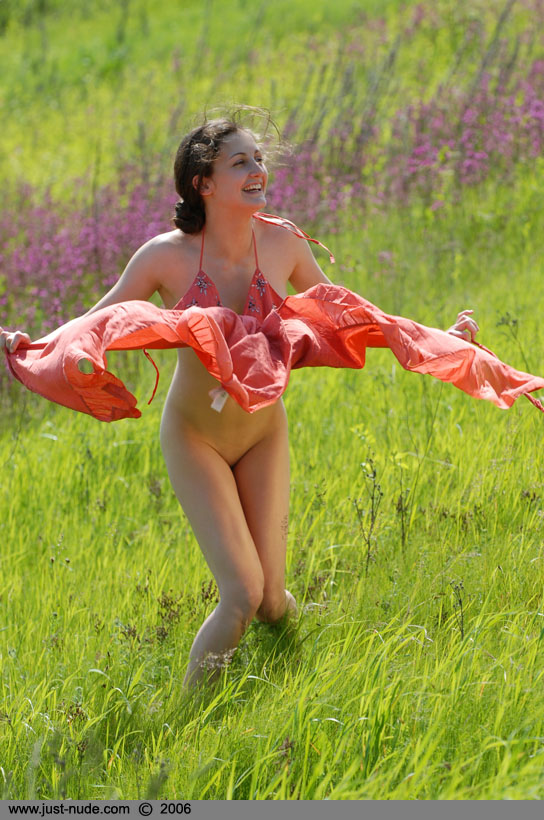 Girl field in grass art nude fine