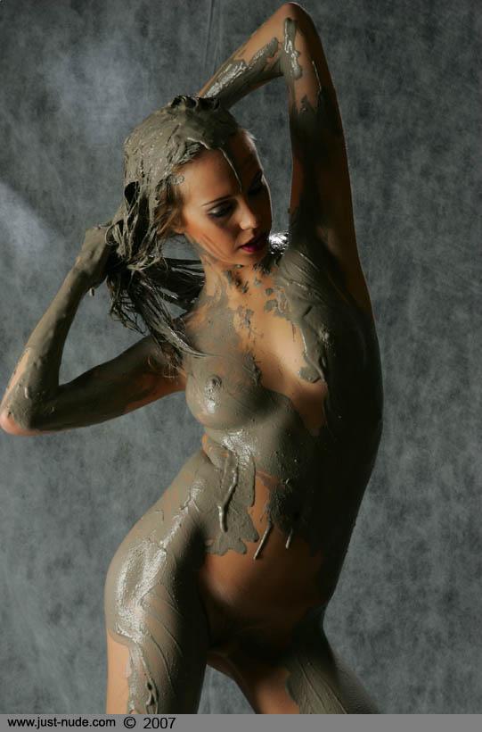 girls nude in black mud
