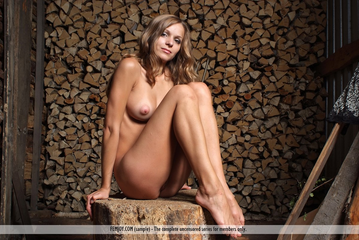 Nude girls chopping wood yet did