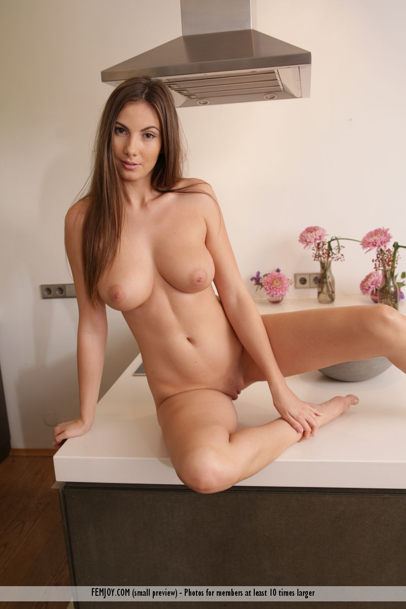 Naked Brunette Wife In Kitchen