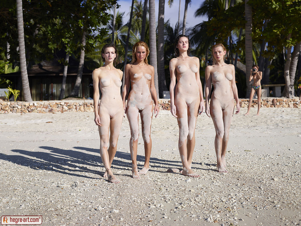 Sexy women nude covered sand