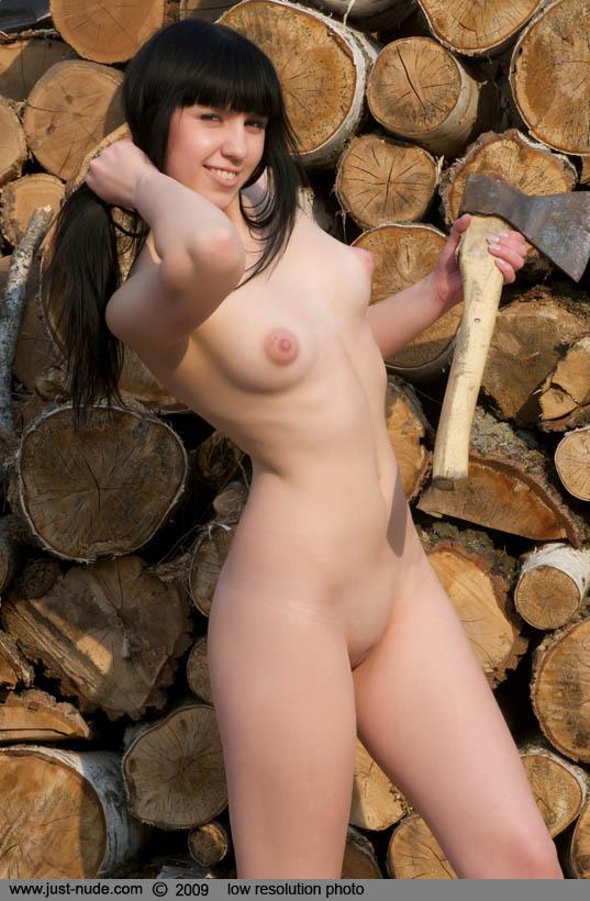 Nude girls chopping wood opinion you