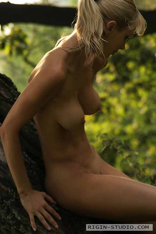 naked woman in the woods