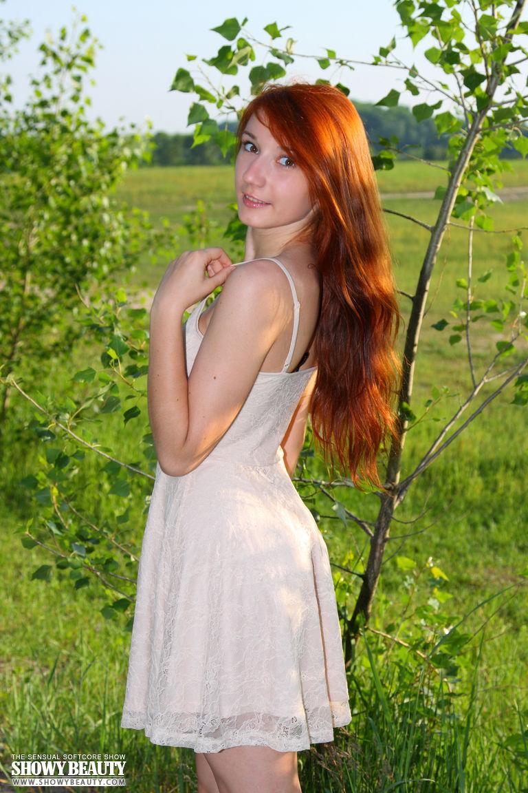 busty redhead beauty flashing outside - nudespuri