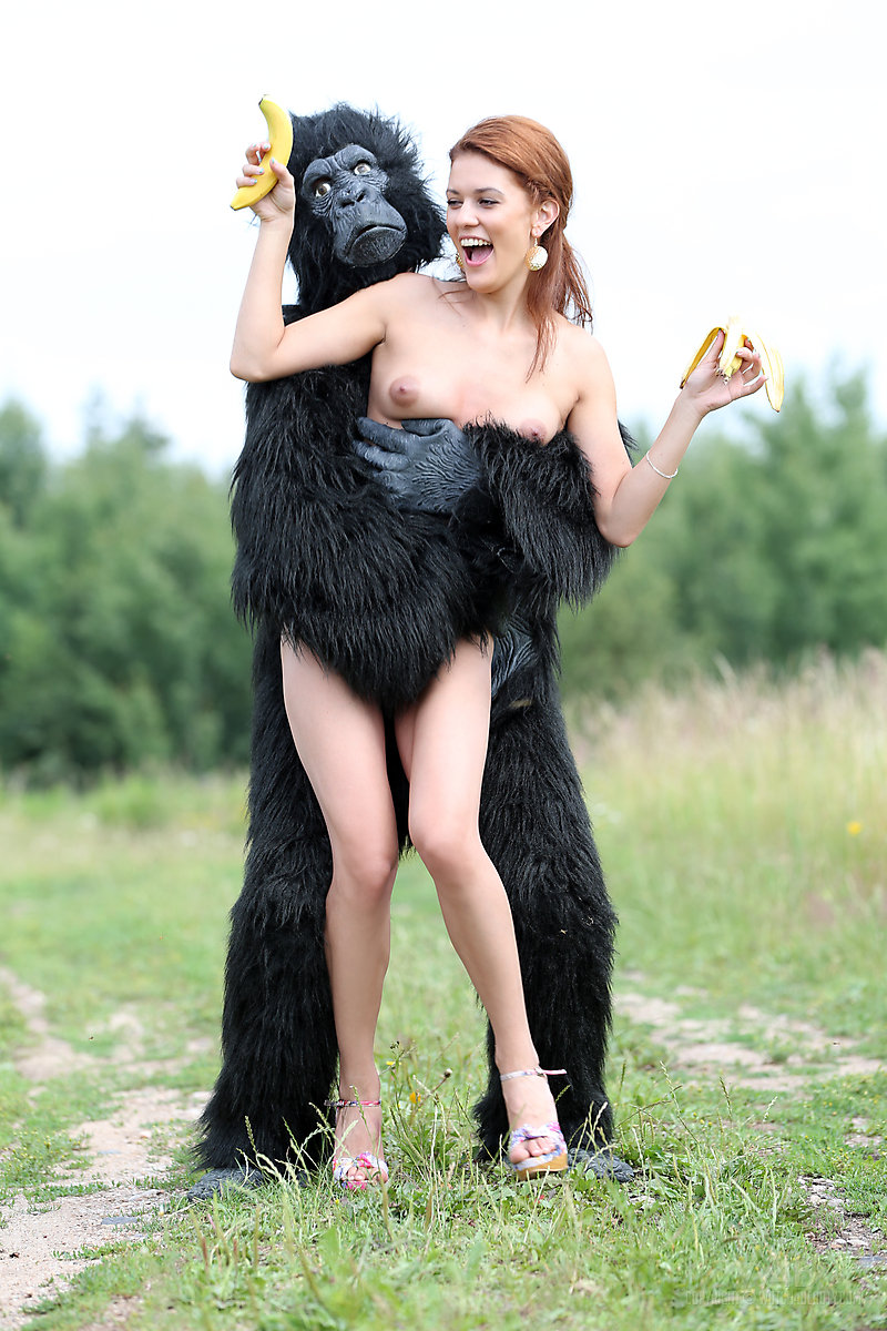 Ape naked woman with
