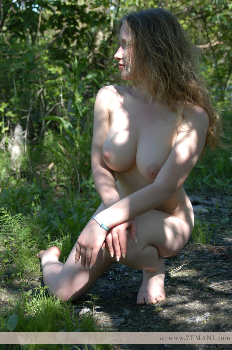 Stripped naked in the woods